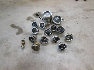 Vintage Lot of Stewart Warner Gauges Instrument Cluster SW Hot Rod Scta Temp Amp