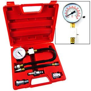 "Automotive Compression Tester 2 1 2"" Dia Gauge Gas Engine Tuner Kit 2 Adapters"