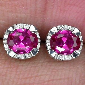 Astonishing Top Pinkish Red Ruby Gems 925 Silver Stud Earrings