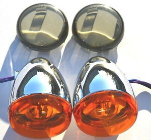 Harley Softail Sportster Dyna Chrome Deuce Bullet Rear Turn Signals Lenses