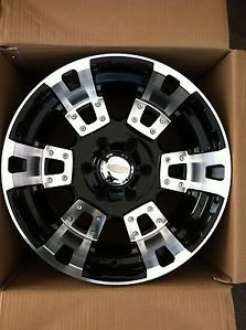 "17"" Black Rims Tires 6x139 Chevy GMC Titan Toyota 285 70 18 Falken Wild Peak At"