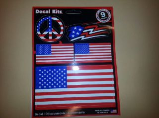 Chroma Decal Sticker Stars and Stripes American Flag and Peace Sign 9 Pcs