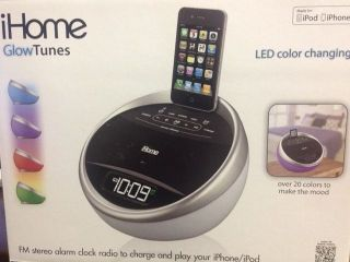 iHome Glowtunes LED Color Changing FM Stereo Alarm Clock Radio iPod iPhone