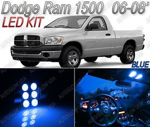 Dodge RAM 1500 Blue LED Lights Interior Kit 2006 2008