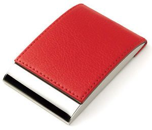 Personalized Red Leather Business Card Credit Card Holder Custom Engraved Free