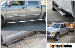 "2002 2008 Dodge RAM 1500 Quad Cab 4"" Stainless Oval Nerf Bars Running Boards"