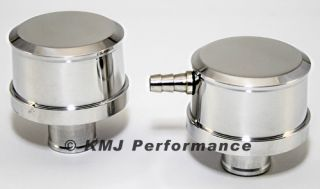 Pair Polished Aluminum Valve Cover Breather and PCV Breather Smooth Top Push In