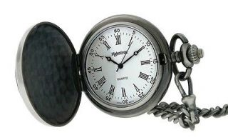 Majestron by Majesti Men's Gun Metal Faux Leather Roman Pocket Watch Chain