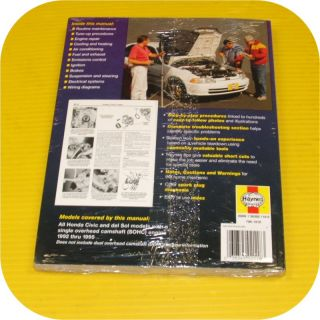 Repair Manual Book Honda Civic Del Sol 92 95 Owners
