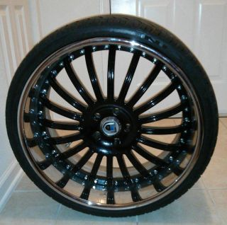 "22"" asanti AF122 Three Piece Black Chrome Wheels Tires Staggered"