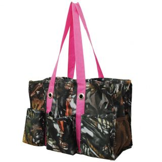 Natural Camo Print Travel Caddy Organizer Tote Bag