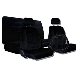 9pc Encore Black Low Back Truck Seat Covers Steering Wheel Bench Front Bucket