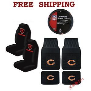 NFL Chicago Bears Car Truck Steering Wheel Cover Floor Mats Seat Covers