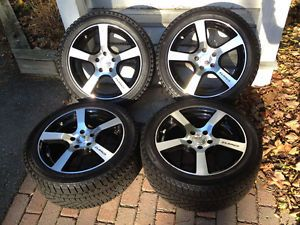 Set of Four 235 45R17 Continental Extremewintercontact Snow Tires w Elbrus Rims