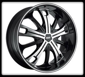 "22"" Avenue D1 Black Machined Wheel Rims 285 45 22 Nitto Terra Grappler Tires"