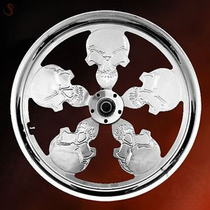 "Custom Skull Wheel Set Chrome 16"" or 18"" Rims for Harley Models"