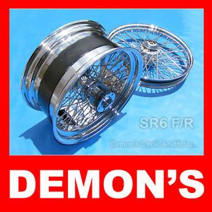 Chrome Wide Wheels Set Custom 60 Spoke 250 Tire Billet Hub Fit Harley Motorcycle