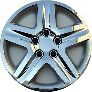 "Chevrolet Malibu Premium Chrome 16"" Hubcaps Wheel Covers Snap on w Steel Clips"