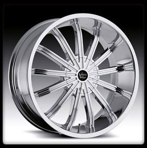 "24"" x 9 5"" Vision 456 Xtacy 5x115 Charger Chrome Wheels Rims 24 inch 5 Lug 8"