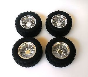 Redcat Volcano S30 Wheels Chrome Rims Tires Set of 4 08045