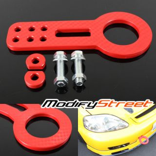 Billet Aluminum Front Towing Hook Kit JDM Anodized Red Racing Bumper Tow Set