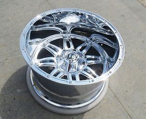 "22x14"" Chrome Fuel Hostage Wheels Lifted Ford F250 F 350 Excursion 8x170 Rims"