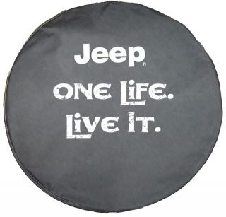 Sparecover® Brawny Series Jeep Logo One Life Live It 30 Black Denim Tire Cover