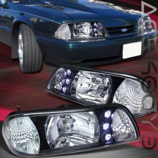 87 93 Ford Mustang Black Chrome LED Head Lights Lamps Pair Euro Assembly Signal