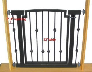 "32"" H Indoor Dog Gate Safety Pet Fence Metal 34"" 40"" W"