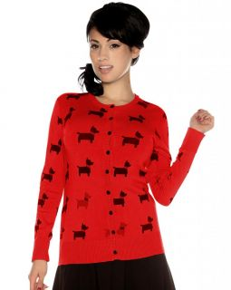 Folter Red Button Down Black Terrier Dog Cardigan Rockabilly Pin Up Sweater