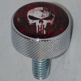 "Chrome Billet Aluminum ""Punisher Skull"" Knurled Seat Bolt for 1996 2014 Harley"