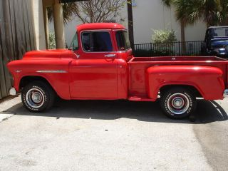 1955 Red Chevy Pickup Truck Short Bed Big Back Window