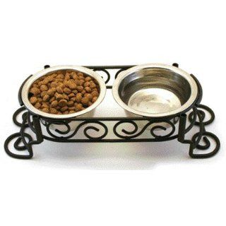 New Cat Dog Raised Food Bowl Stainless Steel Dish Handcrafted Frame Pet Bowls