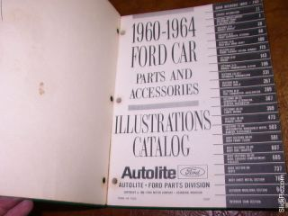 1960 61 62 63 64 Ford Parts Catalog Fairlane T Bird Galaxie 500 Falcon Sunliner