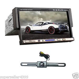 "Single DIN 7"" LCD Car Stereo DVD Media Player DIVX Bluetooth Touch Screen Camera"