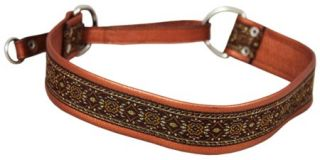 "Real Brown Leather 1 5"" Wide Martingale Dog Collar Choker Fits 19 5"" 23"" Neck"