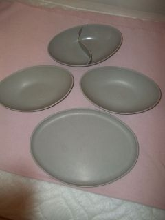 4 Vintage Spaulding Melmac Melamine Divided Oval Serving Bowl Gray Platter Plate