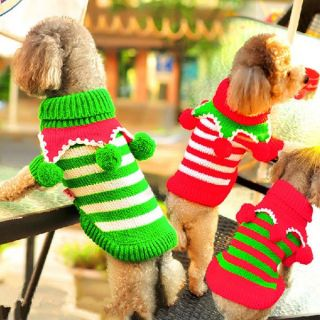 Pet Dog Wool Ball Turtleneck Sweater Knitted Winter Warm Clothes Costume Xmas