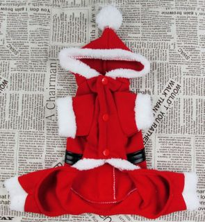 Xmas Santa Fleece Jumpsuit Hoodie Costume Small Dog Cat Pet Puppy Clothes Red