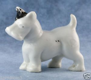 Vintage Miniature Porcelain Scottie Scottish Terrier Dog Figurine Made in Japan