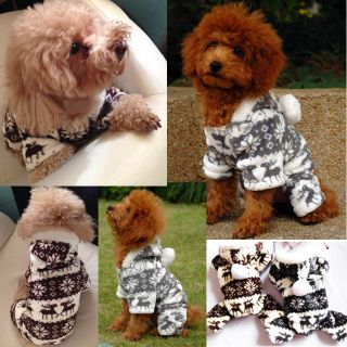 Soft Winter Warm Pet Clothes Cozy Snowflake Hoodie Coat Jumpsuit for Dog Teddy