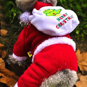 Pet Dog Puppy Winter Santa Claus Costume Coats Merry Christmas Hoodie Shirts