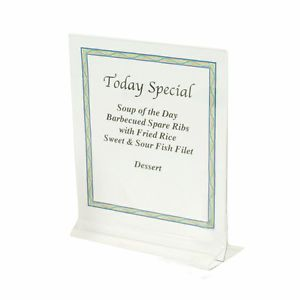 "5"" x 7"" Clear Acrylic Plastic Table Card Menu Flyer Paper Holder Display Stand"