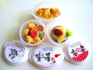 3P Disney Love Love Mickey Minnie Micro Food Storage Container Made in Japan