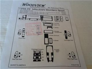 1998 99 Mitsubishi Montero Sport English Burlwood Finish Dash Kit