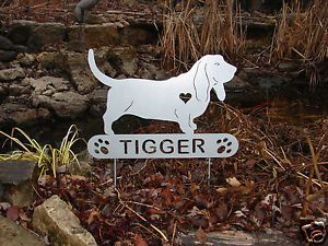Basset Hound Garden Plaque Pet Memorial Yard Stake K9 Personalized Metal Dog
