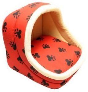 Red Cream Small Paw Print Pet Bed Dog Cat Nest Puppy New Doggy Home Soft
