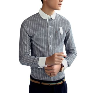 Vertical Stripe Design Button Closure Korea Fashion Casual Man Shirt Dark Blue S