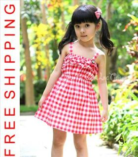 New Girls Kids Casual Summer Party Cute Short Dresses 1091 Red 1 2 3 4 5 Years
