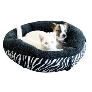 New Round Soft Warm Plush Zebra Print Bolster House Cat Dog Luxury Pet Bed Small